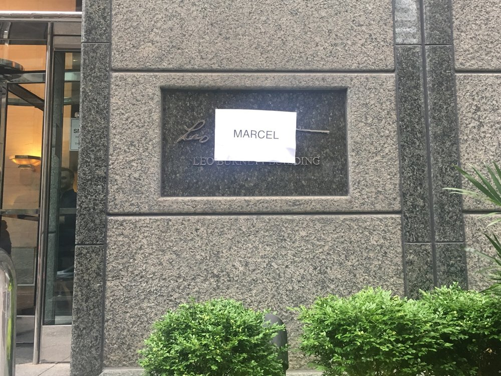 Leo Burnett employees replaced the name on the door with Marcel.  - In his 1967 retirement speech, Leo Burnett told his successors to take his name off the door when the focus became anything but making great work.