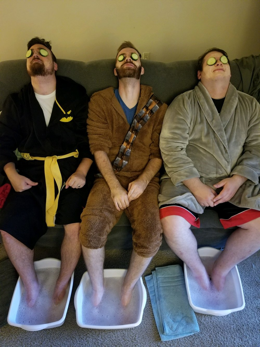 From left to right we have Erik, Mitch and Nick enjoying their at-home spa day.