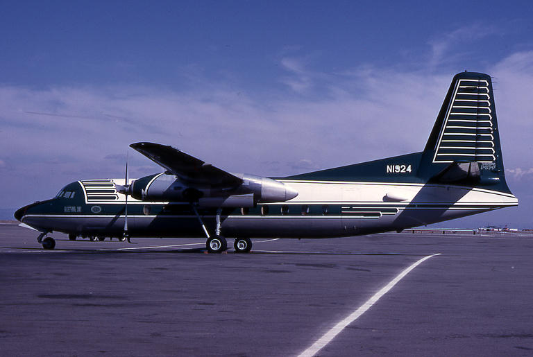 The Fairchild F-27 owned by the Ideal Cement Company and housed in Hangar 61 - circa 1960 at SFO