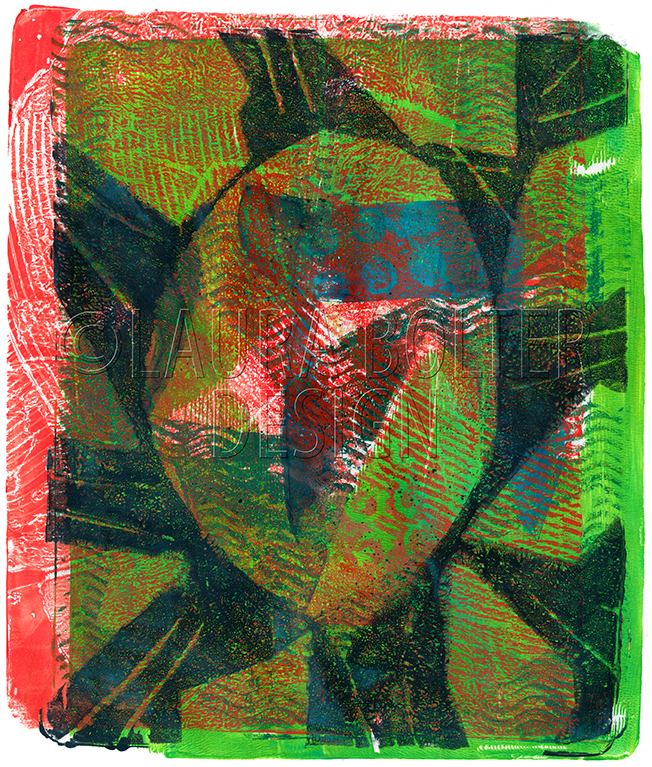 Red & Green Oval 8 x 10 monoprint