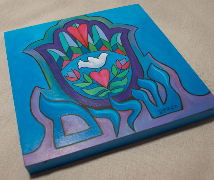 In progress: Shalom Hamsa, 10 x 10, acrylic on cradled wood panel