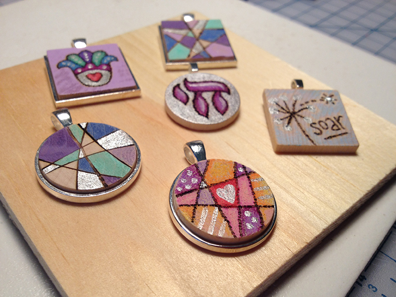 Wood tile pendants