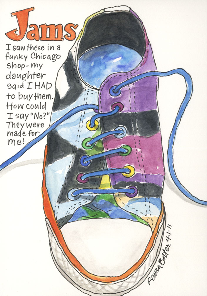 Converse Jams in Ink and Watercolor