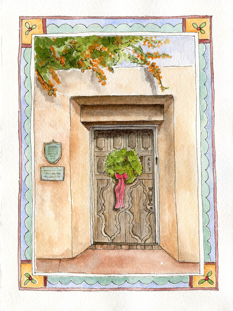 Santa Fe door with a border