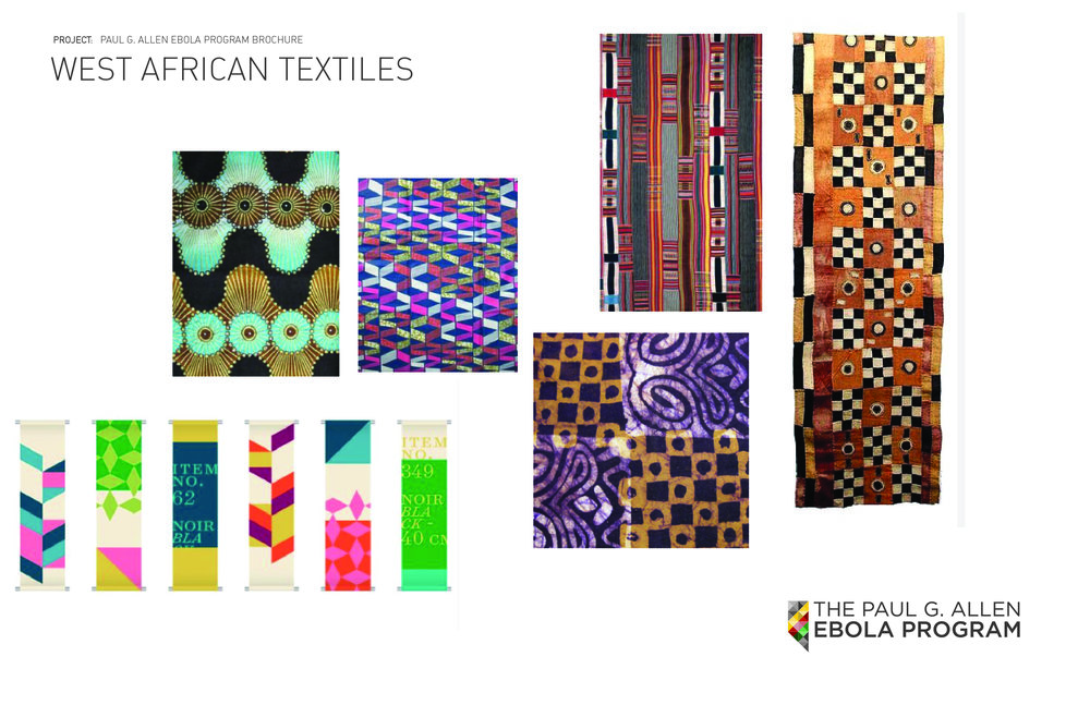 Textiles were a big element of this brochure from the colorful photography itself, to the unique similarities of the branding elements.