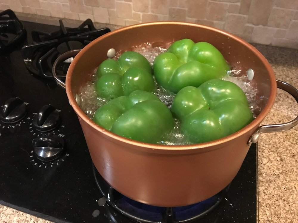 Boiling the peppers