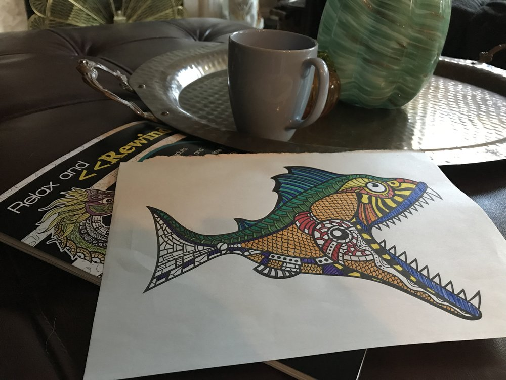 Last night I colored in an adult coloring page and drank tea while relaxing at the end of the day.