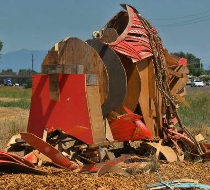 Recently vandalized artwork, Shasta County Community rallies Rebuild!