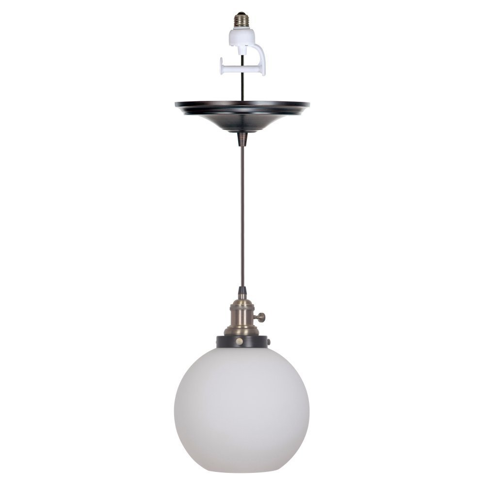 Pendant With Milky White Glass Globe Shade
