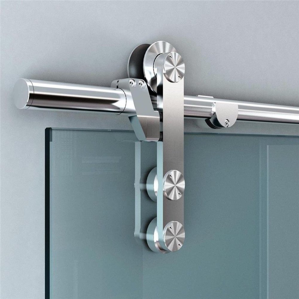 Stainless Steel Glass Sliding Barn Door Hardware Track Set