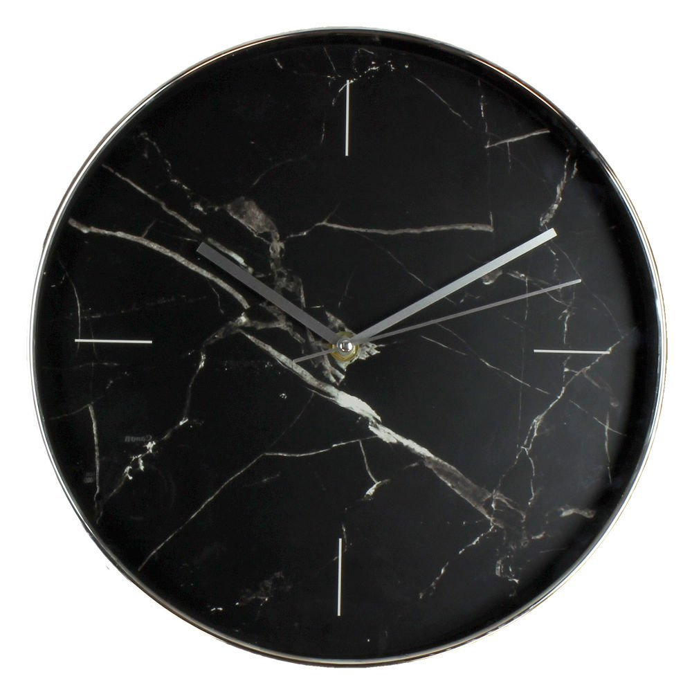 Stylish Black Marble Look Wall Clock by Haysom Interiors