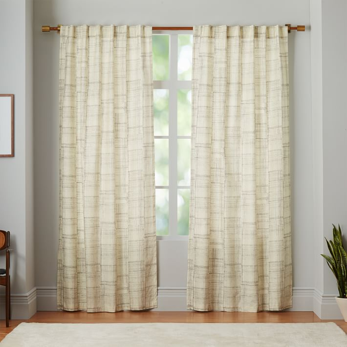 Etched Grid Curtains (Set of 2), Slate