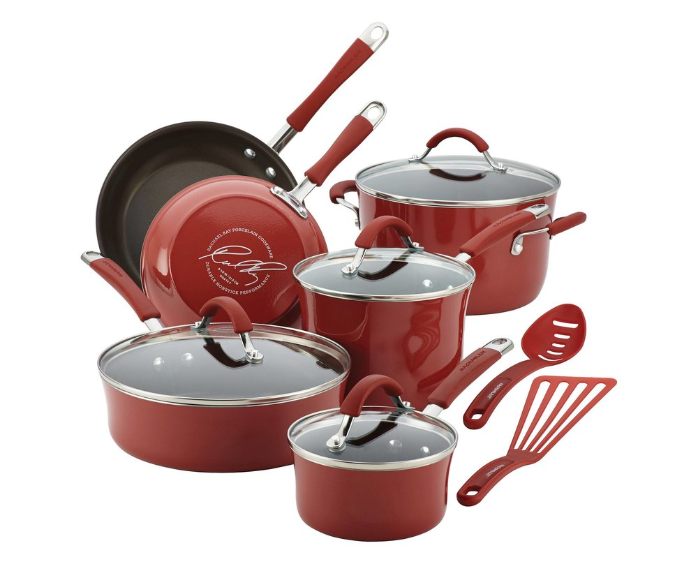Rachel Ray Cucina Porcelain Aluminum 12 Piece Cookware Set