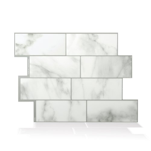 "Mosaik Metro Carrera 11.56"" x 8.38"" Peel & Stick Subway Tile in White and Gray"
