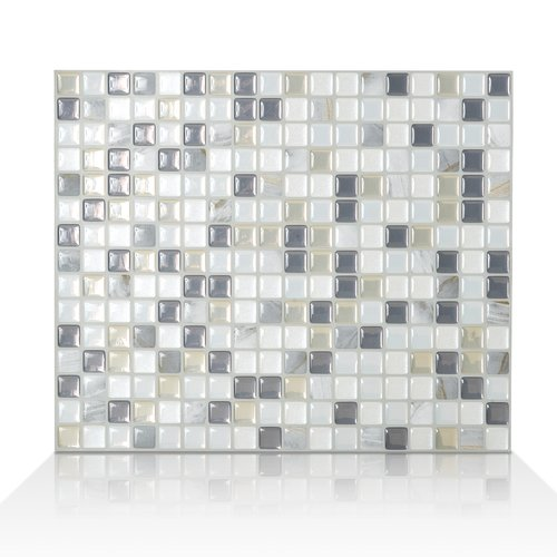 "Mosaik Minimo Noche 11.55"" x 9.64"" Peel & Stick Wall Tile in White & Gray"