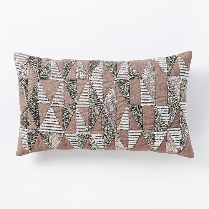 Beaded Diamond Pillow Cover