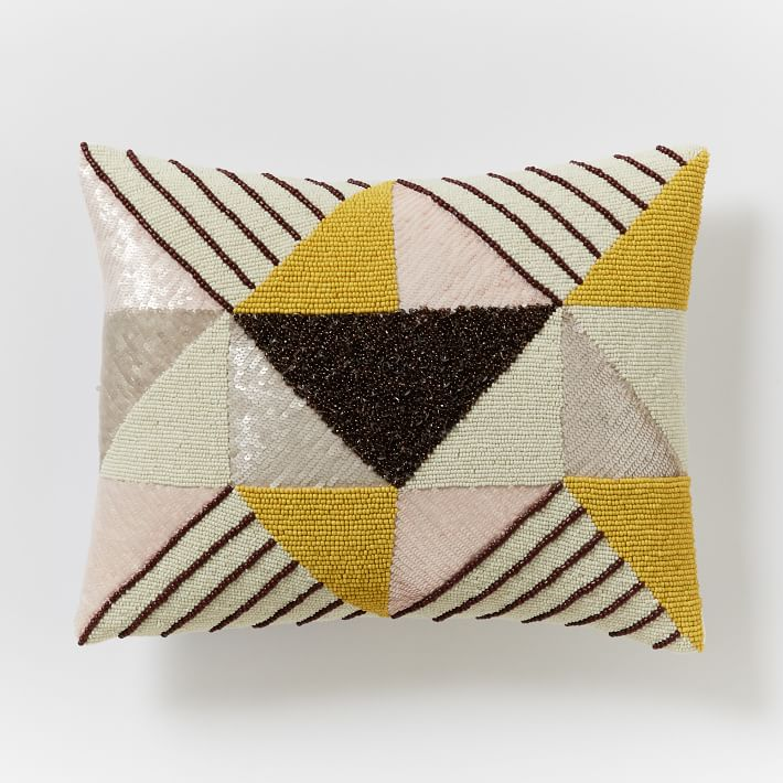 Beaded Triangle Prism Pillow Cover