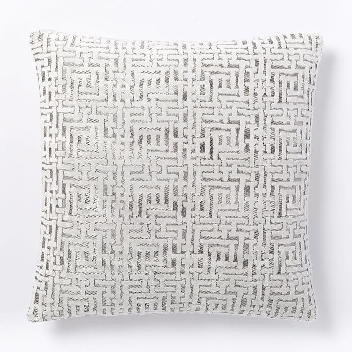 Stone White Allover Crosshatch Jacquard Velvet Pillow Cover