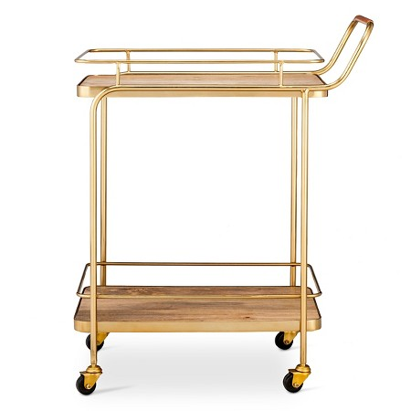 Gold Metal, Wood, and Leather Bar Cart