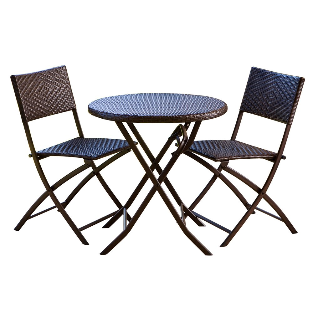 3 Piece Rattan Patio Bistro Set