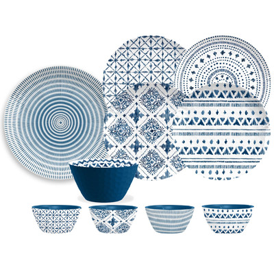 16 Piece Blue & White Dinnerware Set