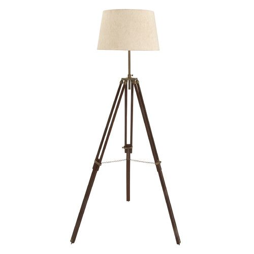 "Set of 2 Wood and Brass 78"" Tripod Floor Lamp"