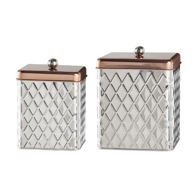 Square Diamond 2 Piece Kitchen Canister Set