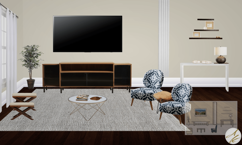 Albie Knows Elegant Boho Living Room Final Design Board