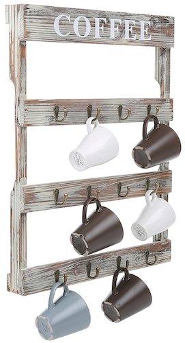 12 Hooks Rustic Wall Mounted Wood Coffee Mug Holder