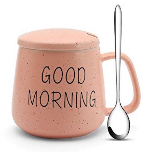 Ceramic 'Good Morning' Mug, Lid & Spoon (10oz)