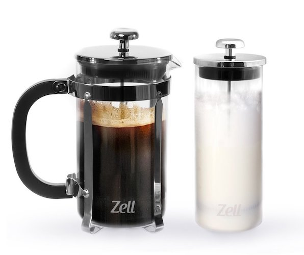 Zell French Press Coffee Maker with Stainless Steel Frame and Glass Milk Frother Set
