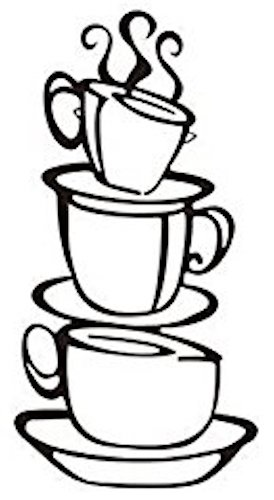 Cup Silhouette Wall Art, Metal Black Finish