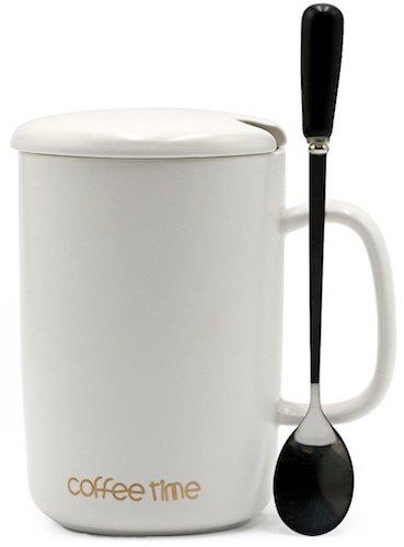 Ceramic Mug with Lid & Spoon, White (15 oz)