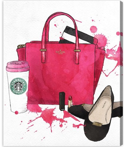 'Bags, Shoes, and Coffee' Graphic Art on Wrapped Canvas