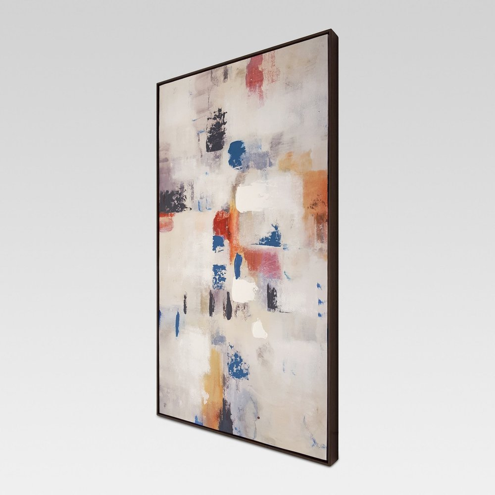 "Abstract Framed Embellished Canvas 42""x24"""