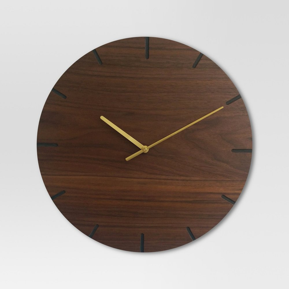 "Wood 16"" Clock Brass/Walnut Finish"