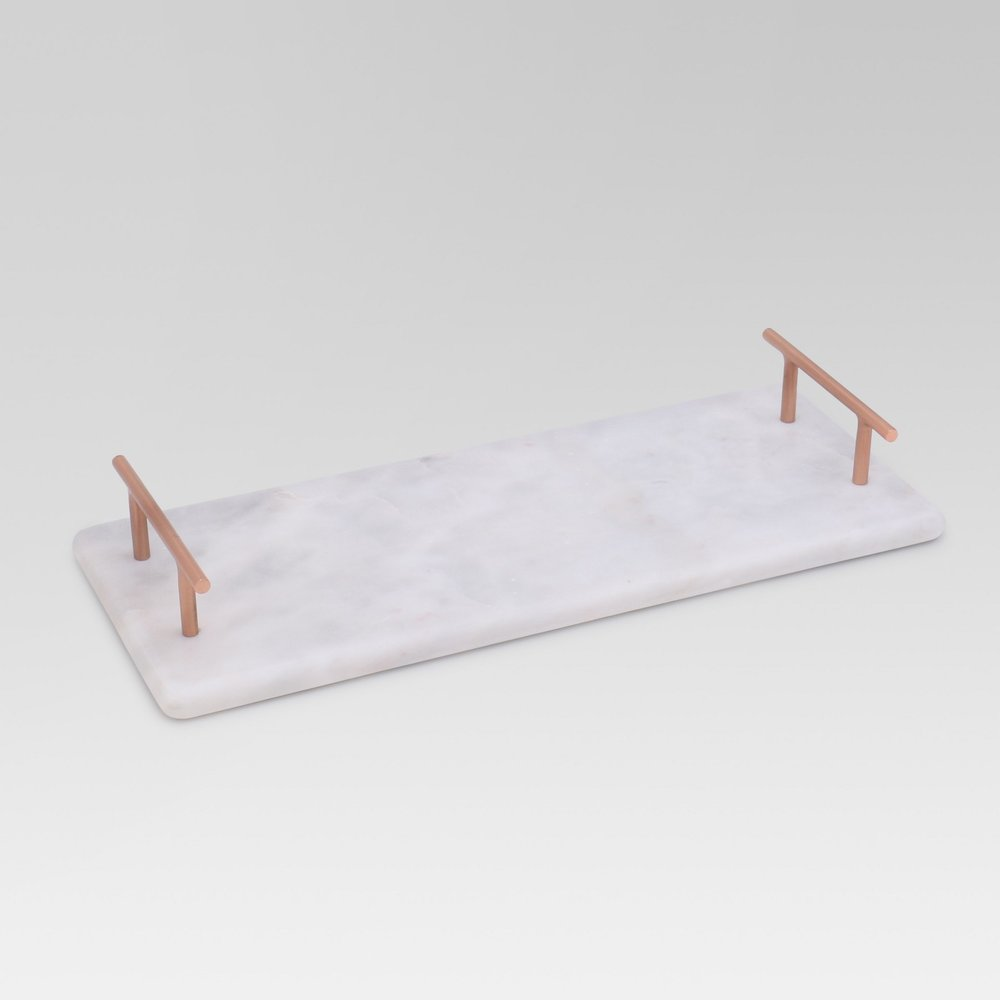 Rectangle Marble Serving Tray - White