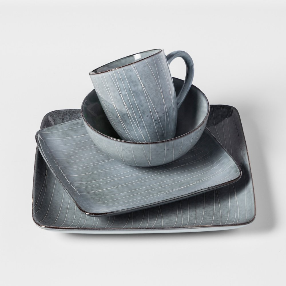Solene Square Stoneware 16pc Dinnerware Set Gray