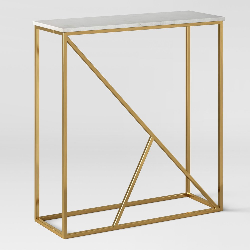 Highfield Console Table White Marble/Brass