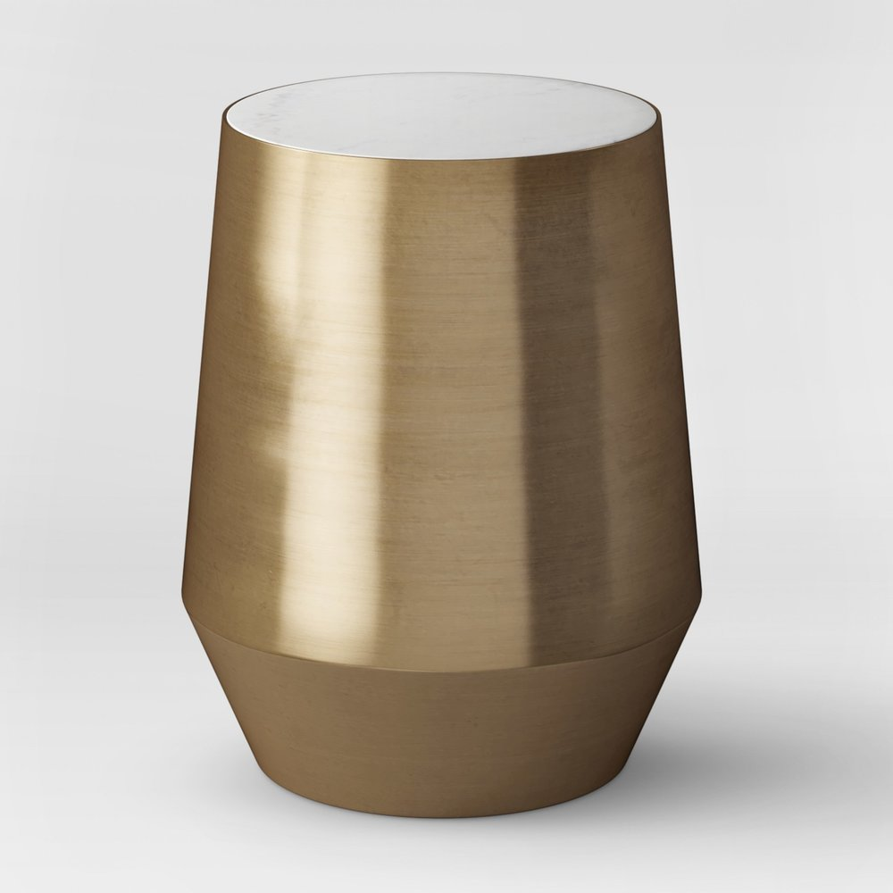 Mawr Metal Accent Table White Marble/Gold
