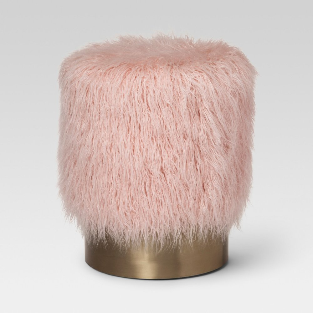 Faux Fur and Metal Ottoman - Blush