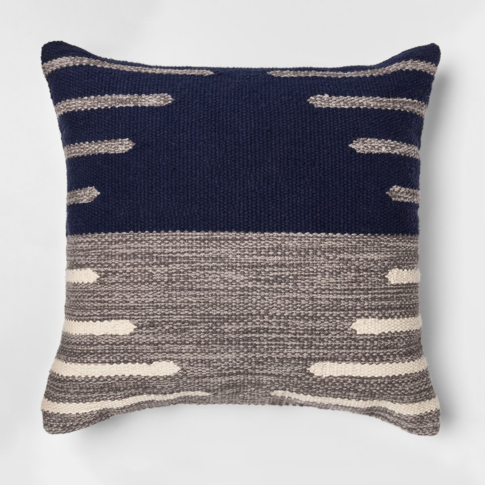 "Two Tone Throw Pillow (18"") - Blue/Gray"