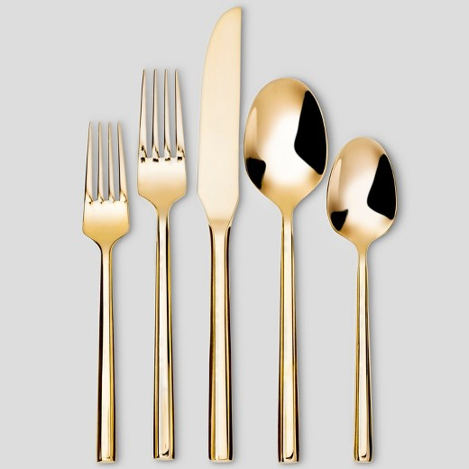 Izon Mirror 5pc Silverware Set Gold