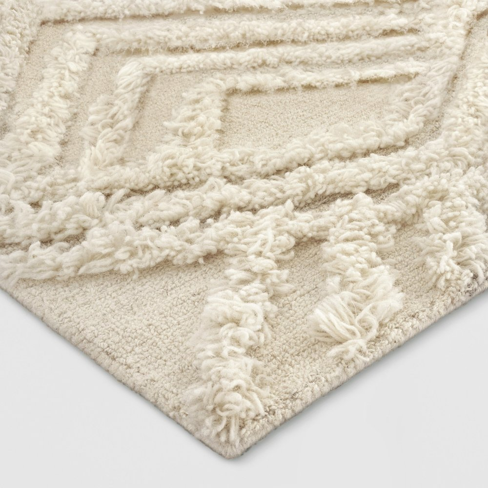 Cream Moroccan Wedding Shag Area Rug
