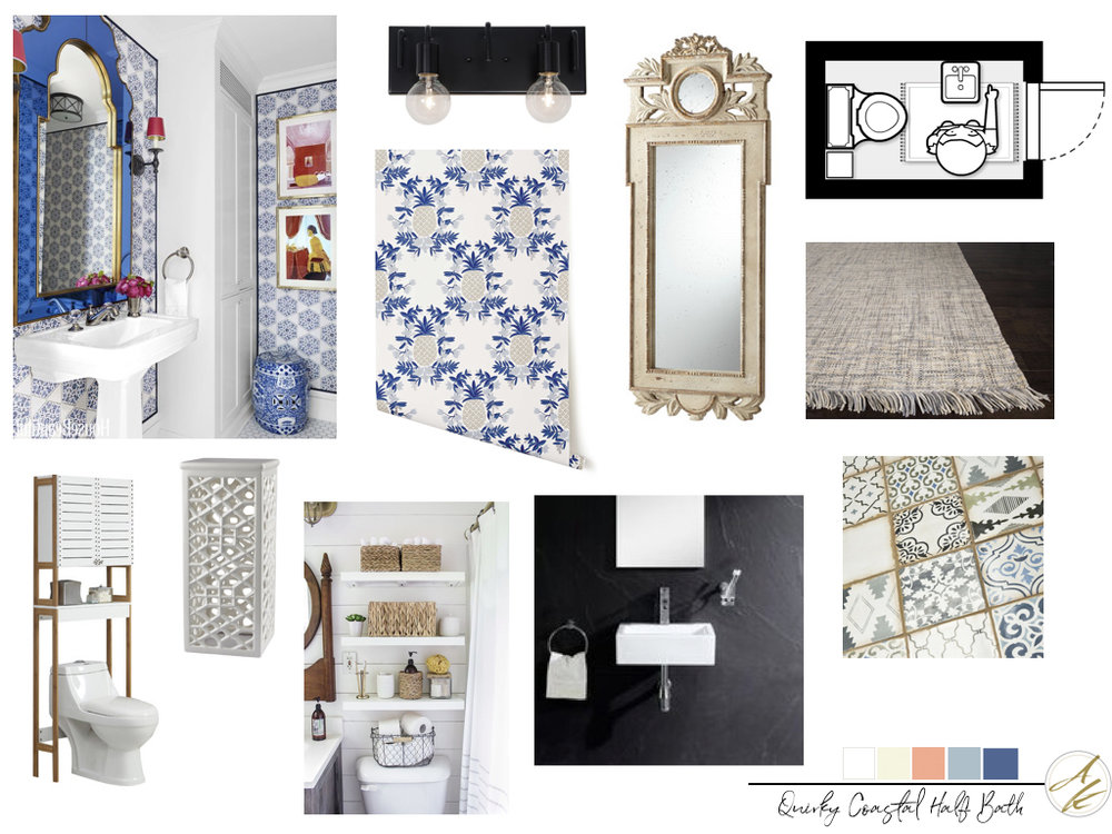 Quirky Coastal Half Bath Concept Board by Albie Knows