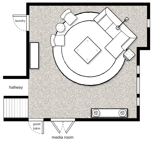 Sophisticated Yet Casual Living Room Space Plan Concept by Albie Knows