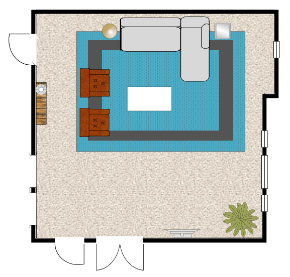 Sophisticated Yet Casual Living Room Space Plan by Albie Knows