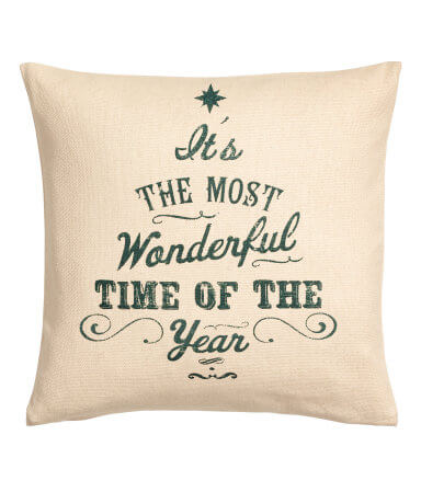 Beige Christmas-Print Cushion Cover