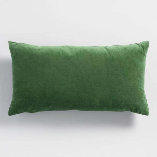 Green Velvet Lumbar Pillow - Cost Plus World Market