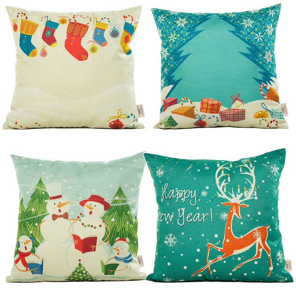 Set of 4 Winter Series Throw Pillow Cover, Square 18""